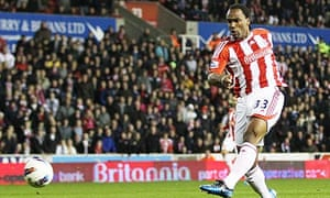 Cameron Jerome, the Stoke City striker. scores the equaliser against Everton