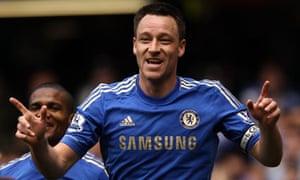 John Terry after scoring Chelsea's first goal against Blackburn at Stamford Bridge