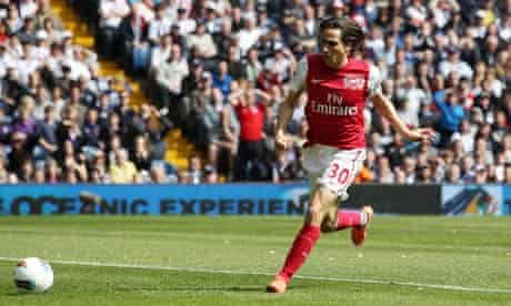 Yossi Benayoun scores Arsenal's first goal against West Brom