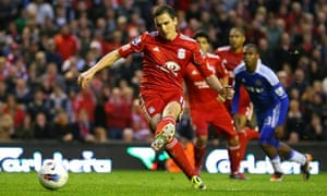 Liverpool's Stewart Downing hits the post with a penalty against Chelsea in the Premier League