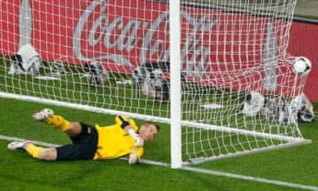 Ireland goalkeeper Shay Given is helpless as a shot by Croatia's Mario Mandzukic beats him