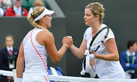 Kim Clijsters, right, bows out of Wimbledon after 14 years following her defeat to Angelique Kerber.