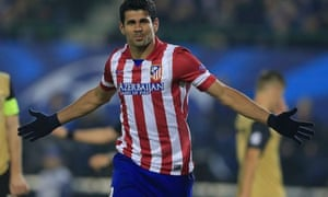 Diego Costa celebrates a goal during Atlético Madrid's 3-0 Champions League win over Austria Vienna