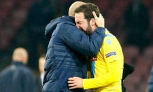 Gonzalo Higuaín, right, is distraught after Napoli fail to go through, despite a win over Arsenal