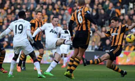 Wayne Rooney scores Manchester United's second goal against Hull City in the Premier League