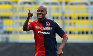 23d01dd81 Cagliari s forward Victor Ibarbo celebrates after scoring the opening goal  against Sampdoria in front of an empty stadium. Photograph  Roberto  Tronci EPA