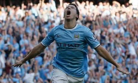 Manchester City's Samir Nasri celebrates scoring in the 4-1 win over Manchester United.