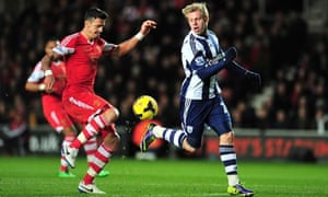 West Bromwich Albion's Matej Vydra, right, vies with Southampton's José Fonte at St Mary's Stadium