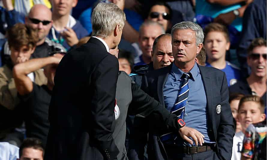 Arsenal's Arsène Wenger, left, and José Mourinho of Chelsea confront one another earlier this month