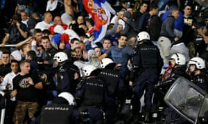 Riot police clash with angry Serbia fans