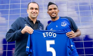 The Everton manager, Roberto Martínez, left, signed Samuel Eto'o in August