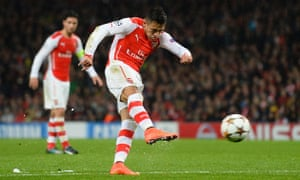 Alexis Sánchez scores Arsenal's second goal in the Champions League tie against Anderlecht