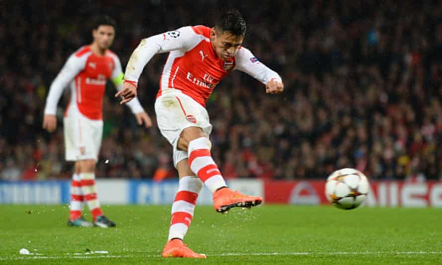 Alexis Sánchez scores Arsenal's second goal in the Champions League tie against Anderlecht