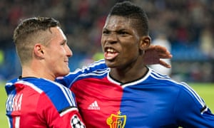 Basel's Breel Embolo, right, celebrates with Taulant Xhaka after scoring the first goal