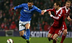 Michael O'Halloran, left, scored the third goal as St Johnstone beat Forfar in the Scottish Cup