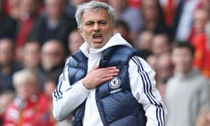 José Mourinho celebrates Chelsea's 2-0 victory over Liverpool in the Premier League