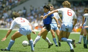 Diego Maradona played a key role in the buildup to his opening goal with a sublime dribble. Photograph: Allspot, UK/Allsport