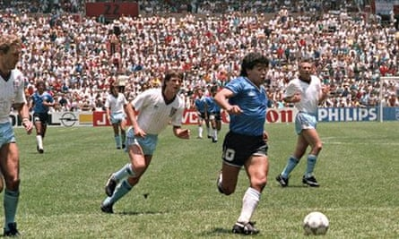 Diego Maradona leaves Terry Butcher, left, and Terry Fenwick, second left, in his wake before scoring his stunning second goal.