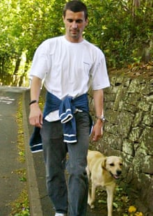 Roy Keane keeps busy by walking his dog Triggs.