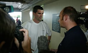 Roy Keane speaks to reporters before leaving Saipan on a flight home.