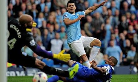 Manchester City beat Everton 3-1 at the Etihad Stadium in October