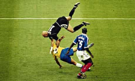 Ronaldo was involved in a heavy collision with Fabien Barthez early in the game and he looked out of sorts.
