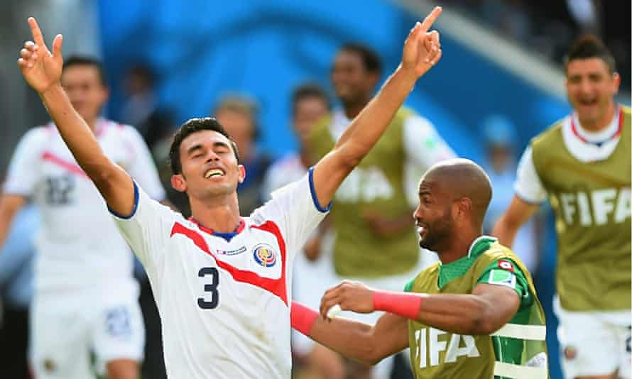 Costa Rica's Giancarlo González, left, has been one of the top central defenders in Brazil