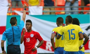 England's Raheem Sterling is shown a red card during the World Cup warm-up match against Ecuador