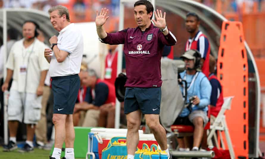 Gary Neville giving orders from the touchline of England's friendly against Honduras.