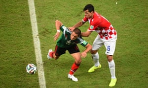 Dejan Lovren, right, against Mexico in the game that eliminated Croatia from the World Cup.