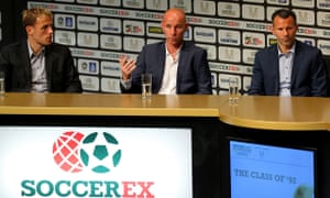 Manchester United's Phil Neville, Nicky Butt and Ryan Giggs speak at the Soccerex Global Convention