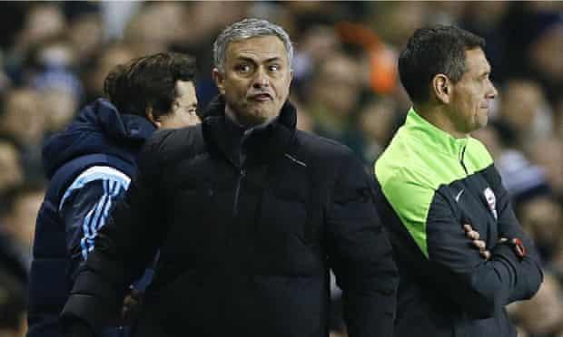 José Mourinho, centre, acknowledged Chelsea's defensive deficiences in the 5-3 defeat by Tottenham