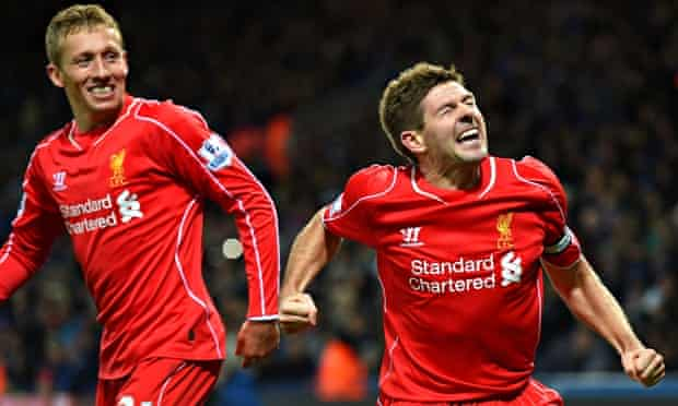 Lucas Leiva, left, is proving to be just as influential in midfield as the US-bound Steven Gerrard