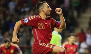 Spain's Santi Cazorla celebrates after scoring in the Euro 2016 qualifier against Luxembourg