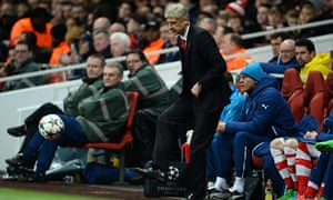 Arsène Wenger kicks the ball back into play during Arsenal's Champions League tie against Monaco