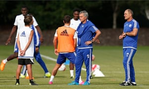José Mourinho oversees Chelsea's training for the Community Shield match against Arsenal