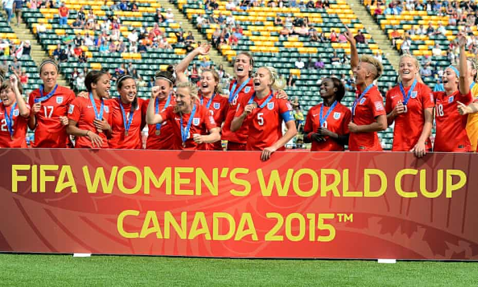 England celebrate their third place play-off victory against Germany at the 2015 Women's World Cup