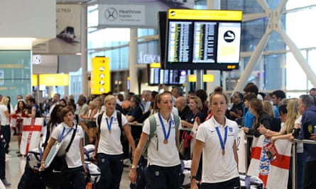 The England team arrive at Heathrow after the third-place finish at the Women's World Cup in Canada
