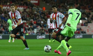Raheem Sterling scores Manchester City's fourth goal in the Capital One Cup tie against Sunderland