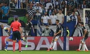 Maicon scores Porto's second goal in the Champions League tie against Chelsea