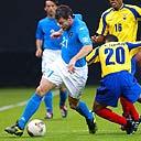 Italy's Christian Vieri, (left), skips around Edwin Tenorio of Ecuador