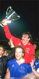 Andy Gray lifts Neville Southall as Everton win the Cup Winners' Cup