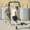 British soldiers play football in Basra