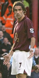 Robert Pires reacts after the penalty that never was