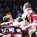 Doncaster Rovers celebrate beating Aston Villa