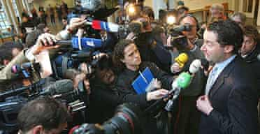 Guus Hiddink's lawyer Jan Leliveld speaks to the media