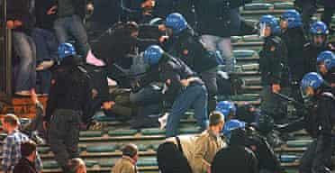 Police in the Stadio Olimpico