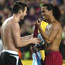 Frank Lampard and Ronaldinho go topless