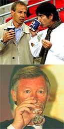 Jurgen Klinsmann, Joachim Low and Alex Ferguson