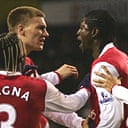 Nicklas Bendtner and Emmanuel Adebayor